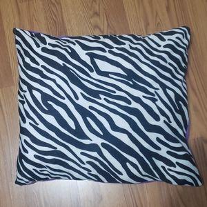 Large zebra purple fleece pillow